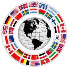 Earth Globe 3D Icon With A Ring Of Flags Around As International Cooperation Vector Symbol.