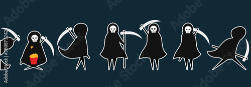 Fotografía Set of death stickers with scythe for Halloween