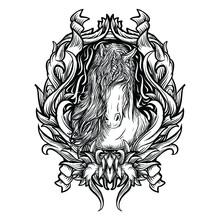 Tattoo And T-shirt Design Black And White Hand Drawn Unicorn Engraving Ornament Premium Vector
