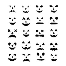 Halloween Pumpkin Faces Icon Set. Spooky Jack-o -Lantern Vector Elements Isolated On White. Halloween Party Decorations