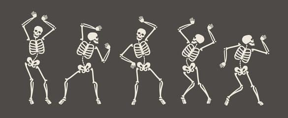 Smiješni kosturi plešu. Dan mrtvih, Halloween koncept vektorska ilustracija