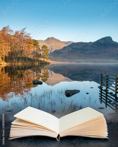 Beautiful Autumn Fall colorful sunrise over Blea Tarn in the Lake District with Fotobehang