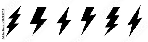 Obraz Lightning bolt icons set. Energy and thunder symbol. Lightning strike vector icon on white background. Vector illustration. - fototapety do salonu