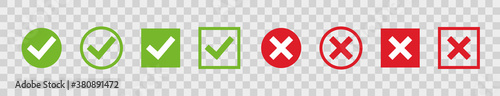 Fototapeta Set green check marks and red crosses of simple web buttons