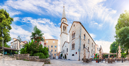 Leinwand Poster St John the Baptists Church In Budva old town, Montenegro, beautiful panorama