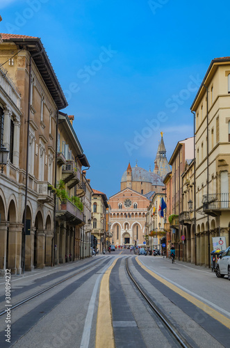view of a street in Padua with the basilica in the background Canvas