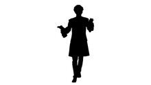 Silhouette Man Dressed Like Mozart Conducting While Walking.