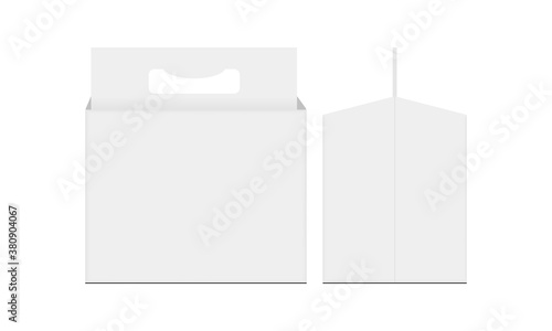 Cardboard carrier packing box with handle for bottle beer, front and side view. Vector illustration