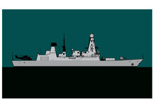 HMS Daring. Modern Warship. Royal Navy Type 45 Daring Class Guided Missile Destroyer. Vector Image For Illustrations And Infographics.