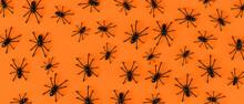 Spider Background On Orange Ba...
