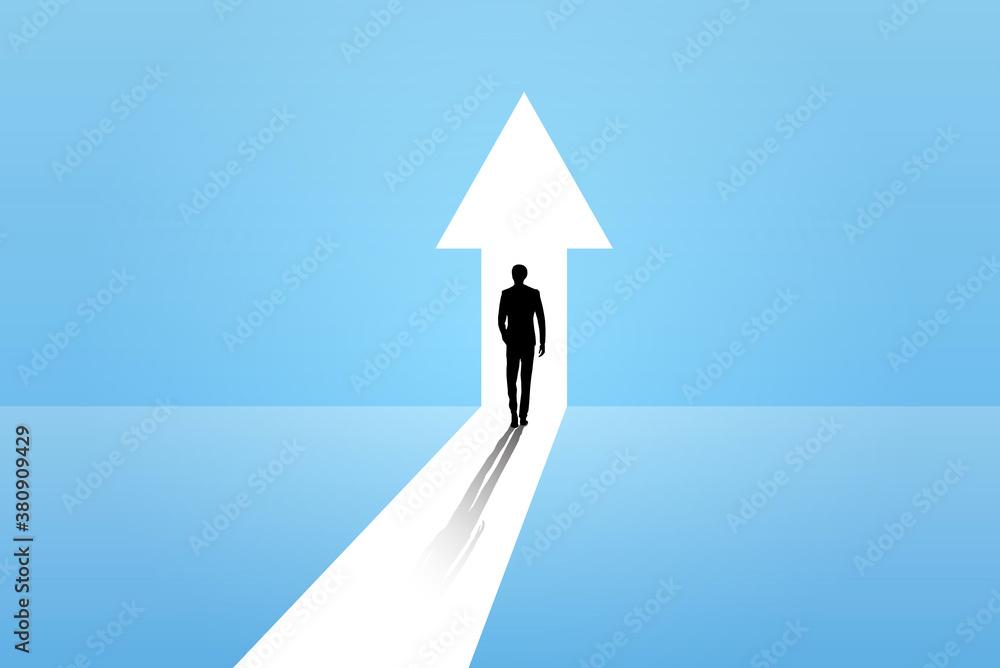 Fototapeta Business growth vector concept with man walking towards upwards arrow. Symbol of success, promotion, career development.