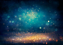 Abstract Xmas Background - Golden And Blue Glitter With Defocused Lights - Vintage Toned
