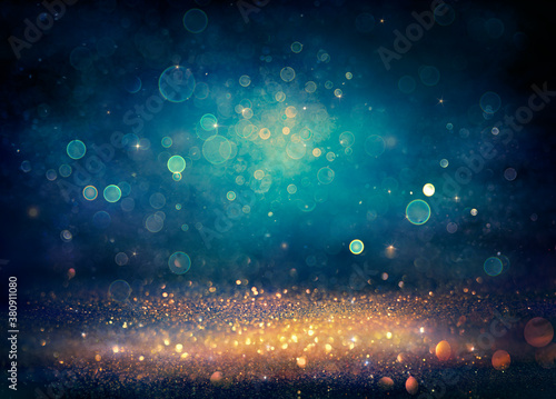 Obraz Abstract Xmas Background - Golden And Blue Glitter With Defocused Lights - Vintage Toned - fototapety do salonu