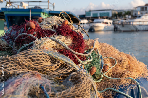 Fishing nets ropes and floats. Fishnet on a basket Fototapet
