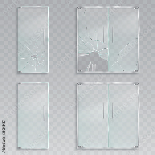 Vector realistic illustrations of a layout of an entrance glass doors with metal Fotobehang