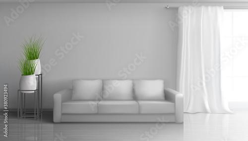 Fototapeta Home living room interior realistic vector mock obraz