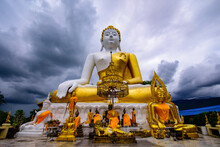 The Buddha Statue In Wat Phra That Doi Kham (Temple Of The Golden Mountain), Chaing Mai, THAILAND.