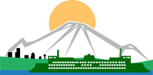 Illustration Vector With A Washington State Ferry, Mount Rainier And Seattle.