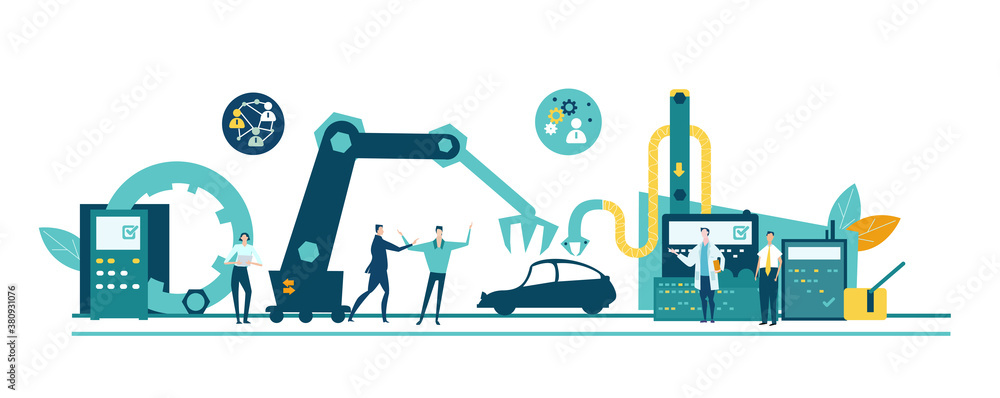 Fototapeta People manufacturing cars, people work next to manufacturing belt, conveyer. Assembling and developing new product. New start up, new business.