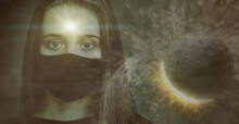 The Face Of A Young Girl In A Mask, Against The Background Of Colliding Planets With A Shining Star In Her Forehead. The Concept Of Paranormal Abilities.Elements Of This Image Are Provided By NASA