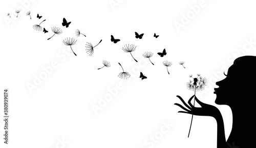 Canvas-taulu Vector illustration of silhouette of girl blowing to dandelion