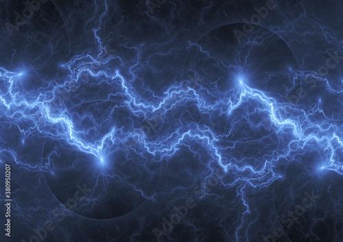 Fototapeta Blue lightning, abstract electrical background