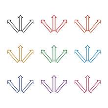 Simple Triple Arrows Icon, Color Set