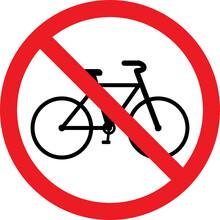 No Bicycles Warning Sign. Perf...