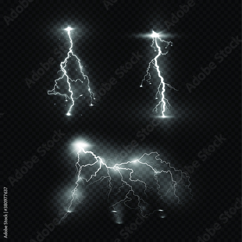 Obraz Lightning flash light thunder sparks on a transparent background. Fire and ice fractal lightning, plasma power background vector illustration - fototapety do salonu