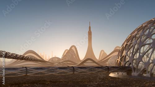 Obraz na plátně Futuristic City Skyline