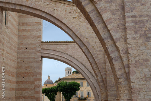 Flying buttresses on the Basilica of Saint Clare in Assisi Italy Canvas Print