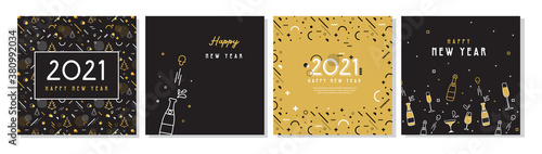 Fototapeta Happy New Year- 2021 . Collection of greeting background designs, New Year, social media promotional content. Vector illustration obraz