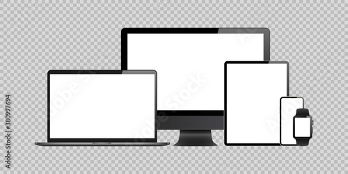 Fototapeta laptop, computer, tablet, mobile, watch mockup isolated blank screen vector set. white monitor touchscreen gadget technology equipment. phone, smartphone, smartwatch on background obraz