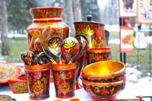 Closeup Wooden Russian Ethnic ...