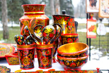 Closeup Wooden Russian Ethnic ...