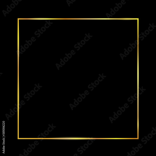 Obraz Golden luxury shiny glowing vintage frame with reflection and shadows on black background. Isolated gold border decoration – stock vector - fototapety do salonu