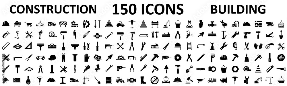 Fototapeta Set 150 construction icons, building, repair tools – stock vector