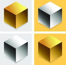 The Cube Is Gold And Metal. Square Realistic Geometric Shapes. Gold And Metal Decorative Design Elements Isolated On A Solid Background. 3d Cuboid Objects In Yellow And Gray Colors. Vector
