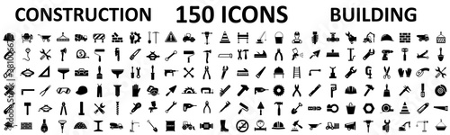 Valokuva Set 150 construction icons, building, repair tools – stock vector