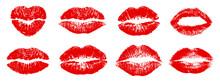 Set Different Imprint Kiss Lips – Stock Vector