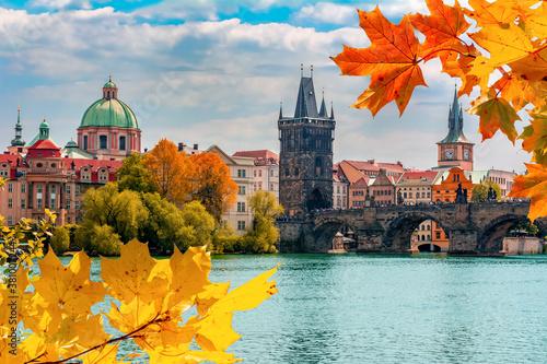 Obraz Prague cityscape and Charles bridge over Vltava river in autumn, Czech Republic - fototapety do salonu