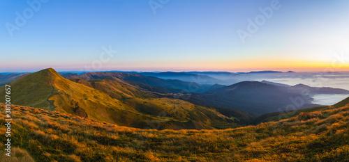 Mountains morning, panorama, dawn, Carpathians, Ukraine. #381007657