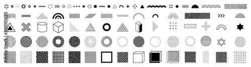 Fototapeta black and white icons set obraz