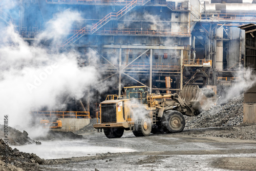The big bulldozer and industrial pollution Wallpaper Mural