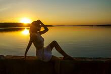 Silhouette Of A Young Beautifu...