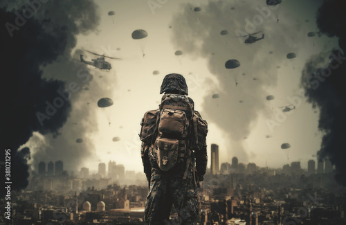A soldier watching forces and helicopters in the sky top of destroyed city Fotobehang