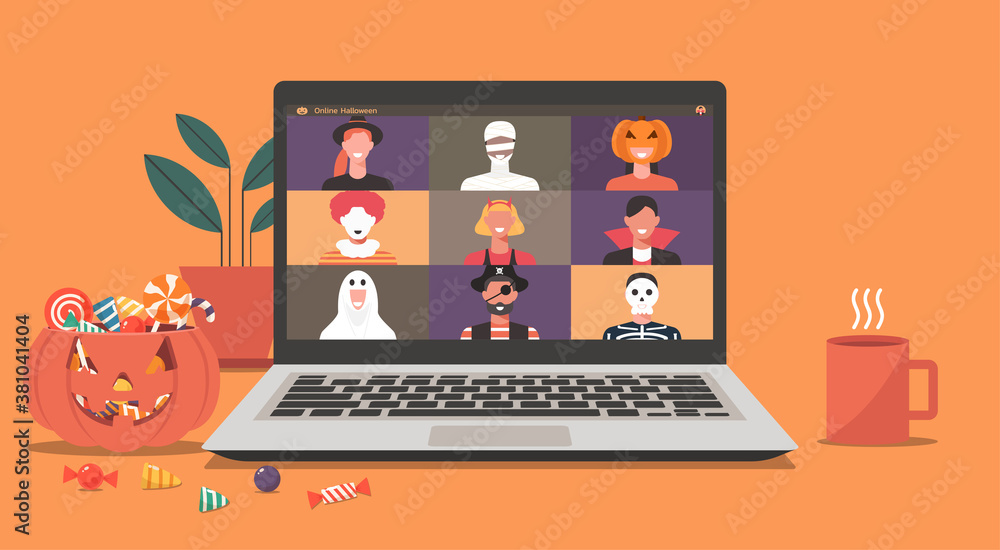 Fototapeta Online Halloween party concept, people in horror costumes on laptop screen have video conference to celebrate festival, friends meeting or connecting together on video call, vector flat illustration