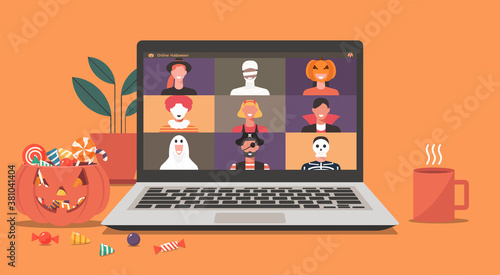 Obraz Online Halloween party concept, people in horror costumes on laptop screen have video conference to celebrate festival, friends meeting or connecting together on video call, vector flat illustration - fototapety do salonu
