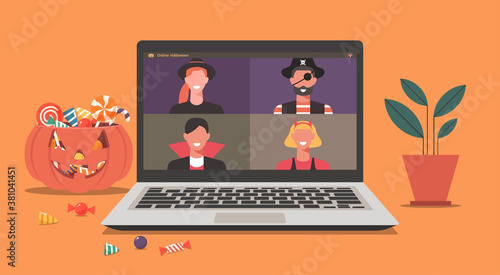 Fototapeta Online Halloween party concept, people in horror costumes on laptop screen have video conference to celebrate festival at home, friends spend time together on video call, vector flat illustration obraz