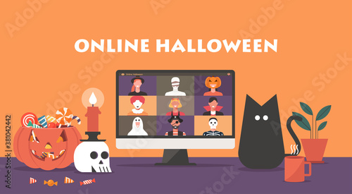Online Halloween party concept, people in horror costumes on computer screen have video conference to celebrate festival, friends meeting or connecting together on video call, vector flat illustration